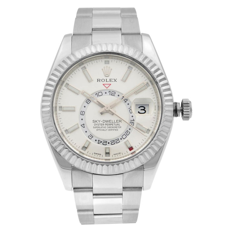 Rolex Sky-Dweller Gold Steel Silver Dial Oyster Band Automatic Mens Watch 326934 For Sale