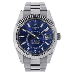 Rolex Sky-Dweller Stainless-Steel Blue Dual Time Zone Watch 326934