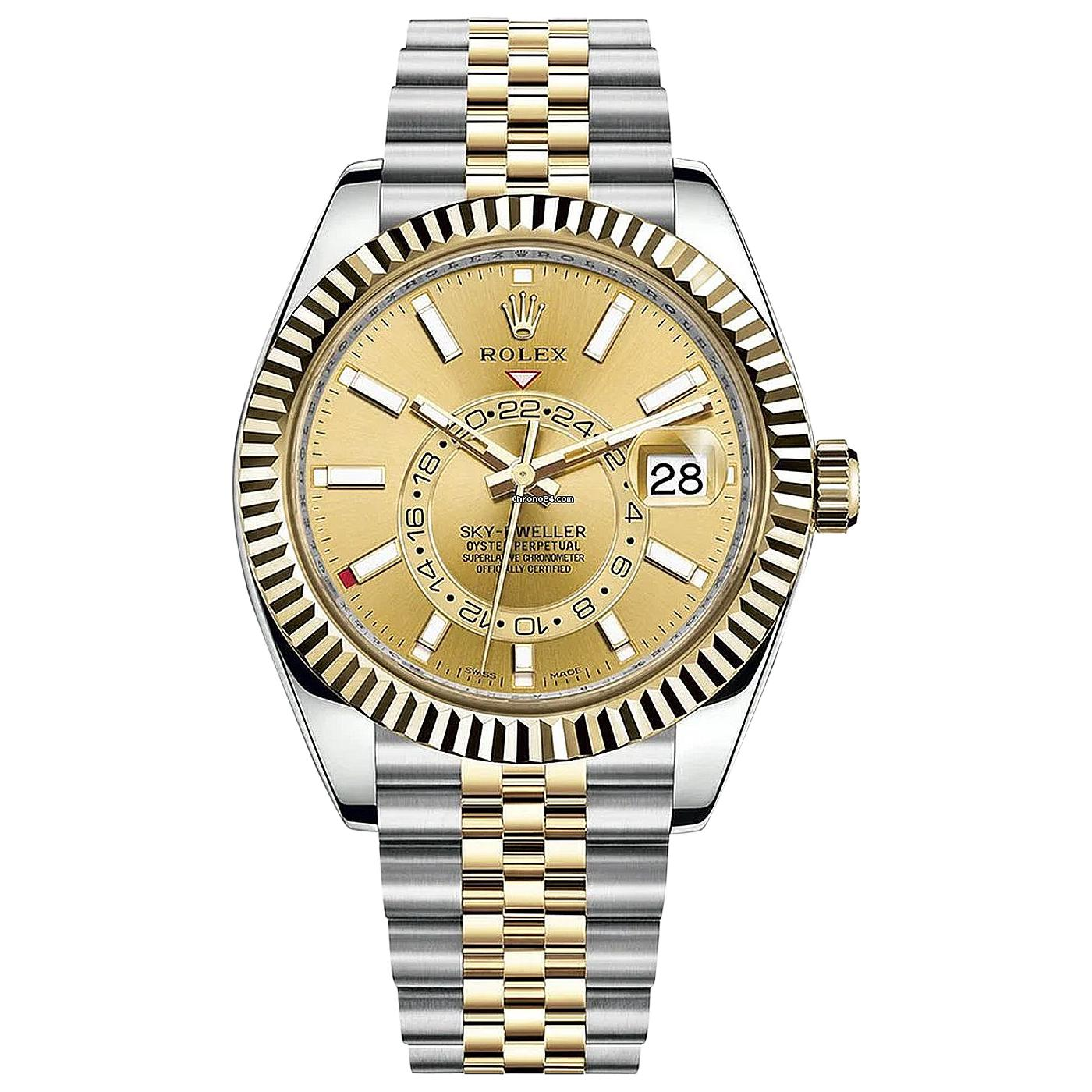 Rolex Sky-Dweller Two-Tone Stainless Steel Yellow Gold Champagne Dial 326933