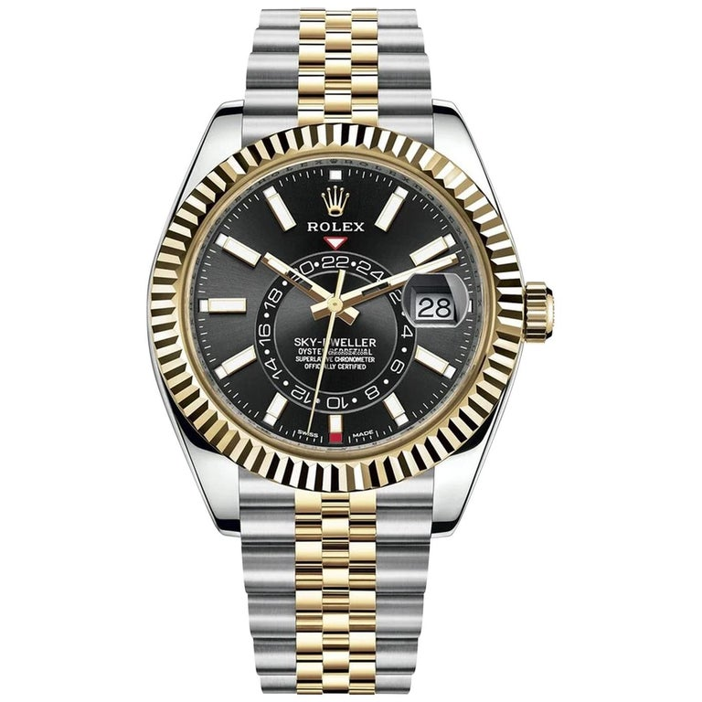 Rolex Sky-Dweller Two-Tone Steel & 18ct Yellow Gold Black Dial Watch 326933 For Sale