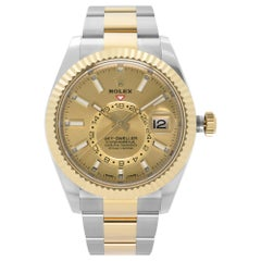 Rolex Sky-Dweller Yellow Gold Steel Champagne Dial Automatic Mens Watch 326933