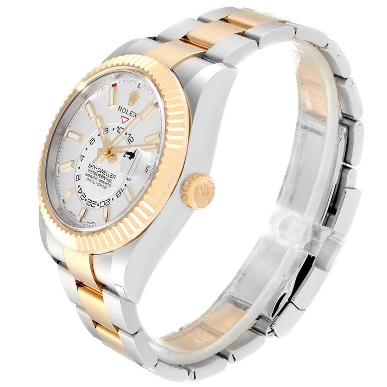 Rolex Sky Dweller Yellow Gold Steel White Dial Men's Watch 326933 Unworn In Excellent Condition For Sale In Atlanta, GA