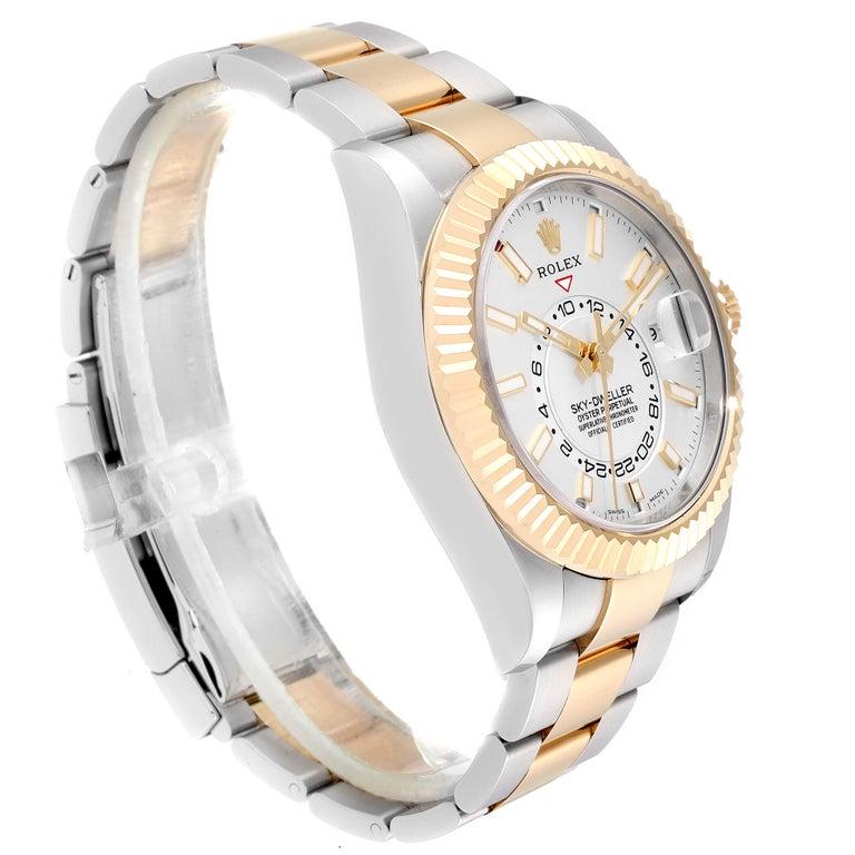 Rolex Sky Dweller Yellow Gold Steel White Dial Men's Watch 326933 Unworn For Sale 1