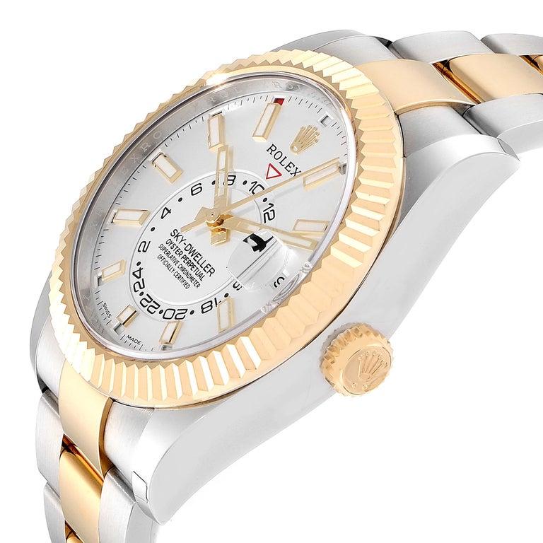 Rolex Sky Dweller Yellow Gold Steel White Dial Men's Watch 326933 Unworn For Sale 2
