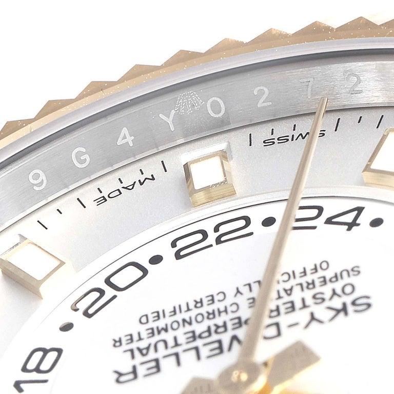 Rolex Sky Dweller Yellow Gold Steel White Dial Men's Watch 326933 Unworn For Sale 3