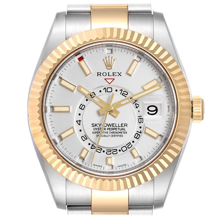 Rolex Sky Dweller Yellow Gold Steel White Dial Men's Watch 326933 Unworn For Sale