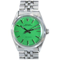 Rolex Stainless Oyster Perpetual Ref 5500 Custom Green Dial, 1970s