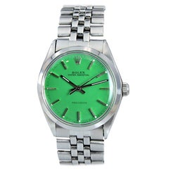 Rolex Stainless Oyster Perpetual Ref 5500 Custom Green Dial from 1973-1974