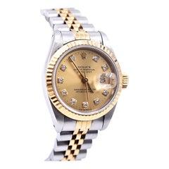 Rolex Stainless Steel/18 Karat Gold Datejust with Diamond Dial Watch Ref. 6917