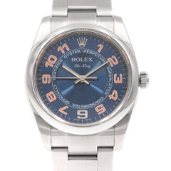 Rolex Stainless Steel Air King Blue Dial Oyster Perpetual Wristwatch Ref 114200