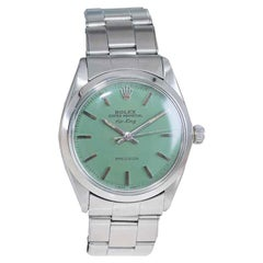 Rolex Stainless Steel Air King Custom Finish Sage Green Dial from 1969/70