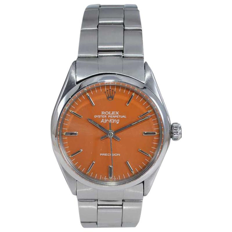 Rolex Stainless Steel Air King Custom Orange Dial, Early 1970's