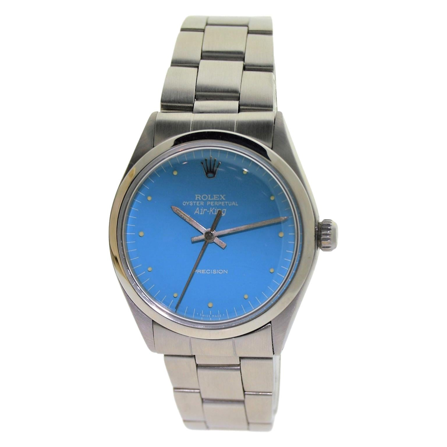 Rolex Stainless Steel Air King Custom Finished Powder Blue Dial, 1970's