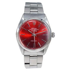 Rolex Stainless Steel Air King Ref 1002 Custom Candy Apple Red Dial, Mid 1970's