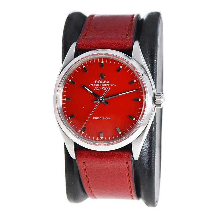 Modernist Rolex Stainless Steel Air King with Custom Finished Red Dial from 1967 For Sale