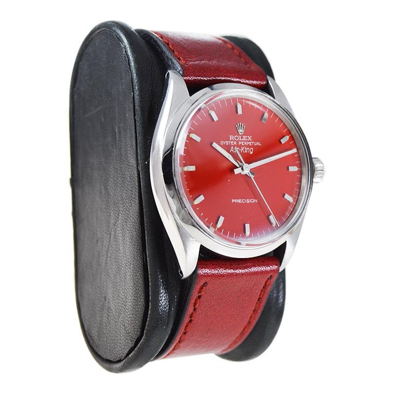 Rolex Stainless Steel Air King with Custom Finished Red Dial from 1967 In Excellent Condition For Sale In Long Beach, CA