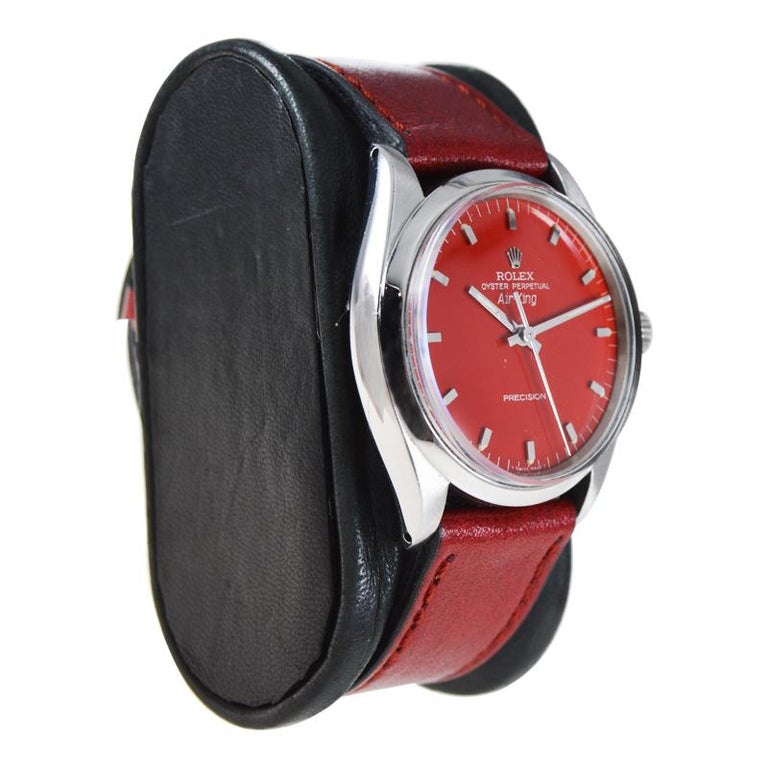 Women's or Men's Rolex Stainless Steel Air King with Custom Finished Red Dial from 1967 For Sale
