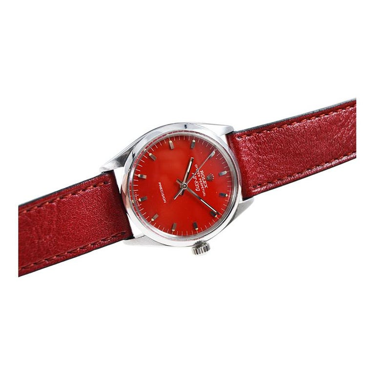 Rolex Stainless Steel Air King with Custom Finished Red Dial from 1967 For Sale 2