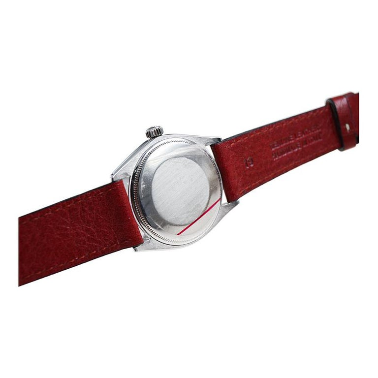 Rolex Stainless Steel Air King with Custom Finished Red Dial from 1967 For Sale 3