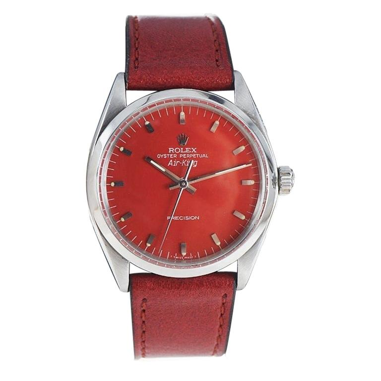 Rolex Stainless Steel Air King with Custom Finished Red Dial from 1967 For Sale