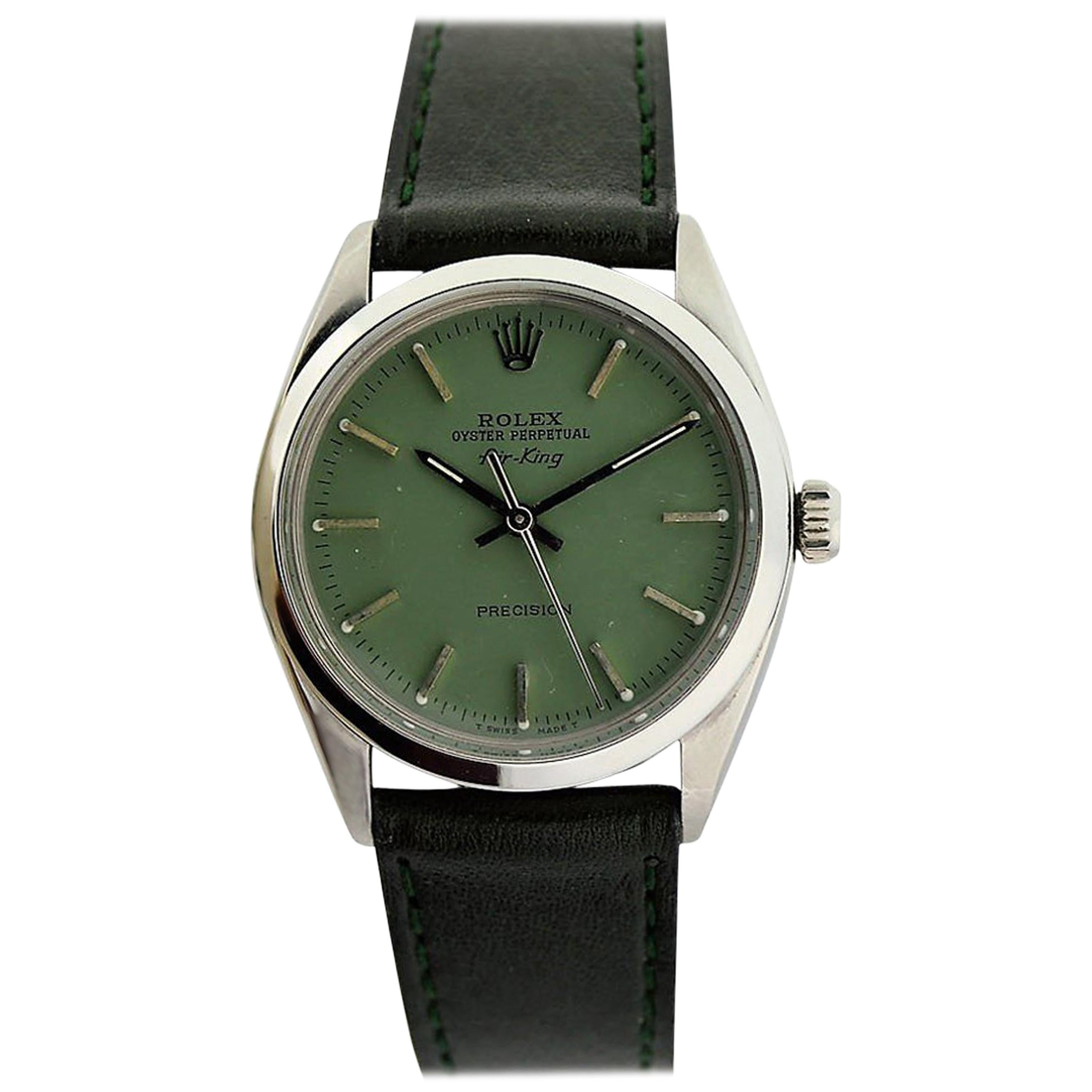 Rolex Stainless Steel Air King with Custom Green Dial, circa 1970s