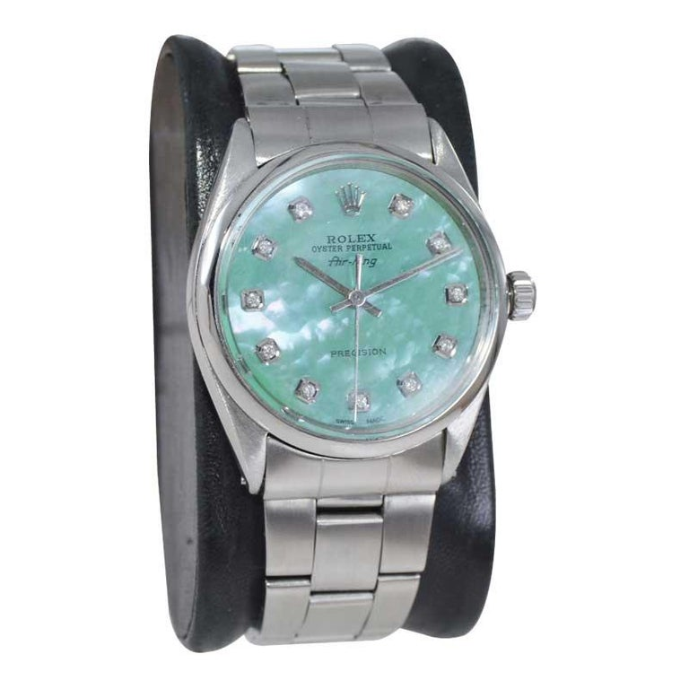 FACTORY / HOUSE: Rolex Watch Co. STYLE / REFERENCE: Air King / Ref.  METAL / MATERIAL: Stainless Steel CIRCA / YEAR: 1970's DIMENSIONS / SIZE: 44 x 34mm MOVEMENT / CALIBER: Perpetual Winding / Jewels  DIAL / HANDS: Replacement Mother of Pearl