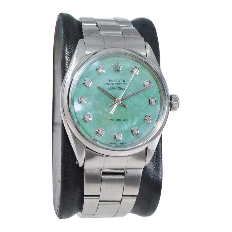 Modernist Rolex Stainless Steel Air King with Custom Mother of Pearl Diamond Dial, 1970's For Sale