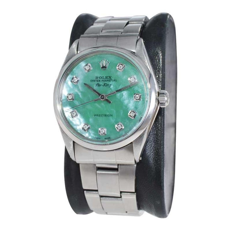 Round Cut Rolex Stainless Steel Air King with Custom Mother of Pearl Diamond Dial, 1970's For Sale