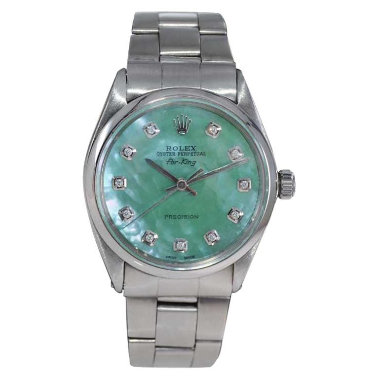 Rolex Stainless Steel Air King with Custom Mother of Pearl Diamond Dial, 1970's For Sale