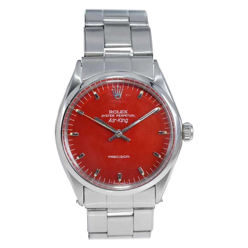 Rolex Stainless Steel Air King with Custom Red Dial, Early 1970's