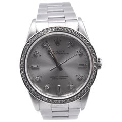 Rolex Stainless Steel Air King with Diamond Oyster Perpetual Dial and Custom Dia