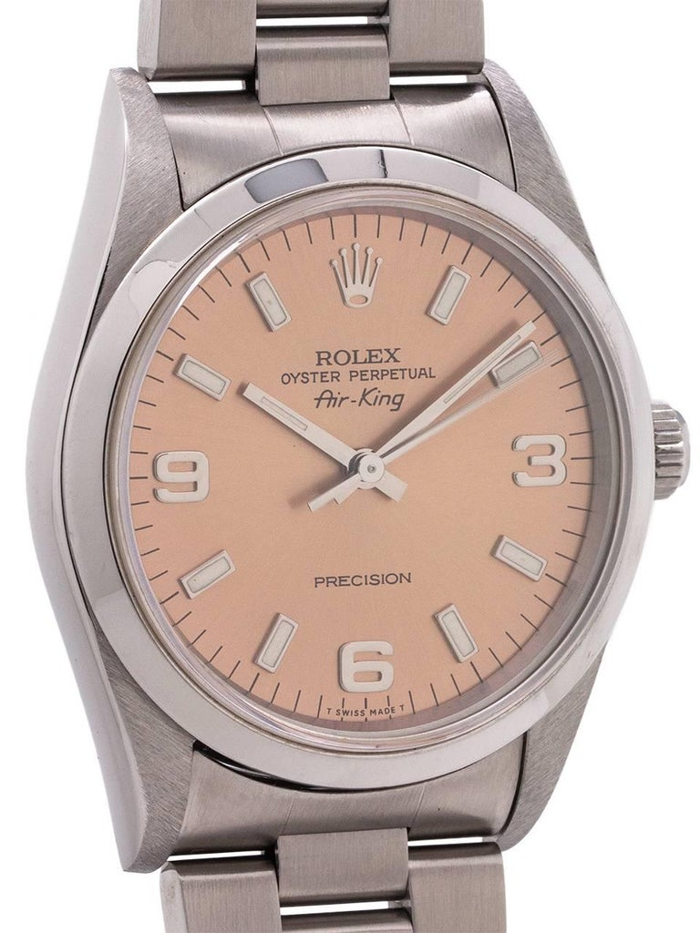 Rolex Stainless Steel Airking self-winding wristwatch Ref 14000, c1995 In Excellent Condition For Sale In West Hollywood, CA