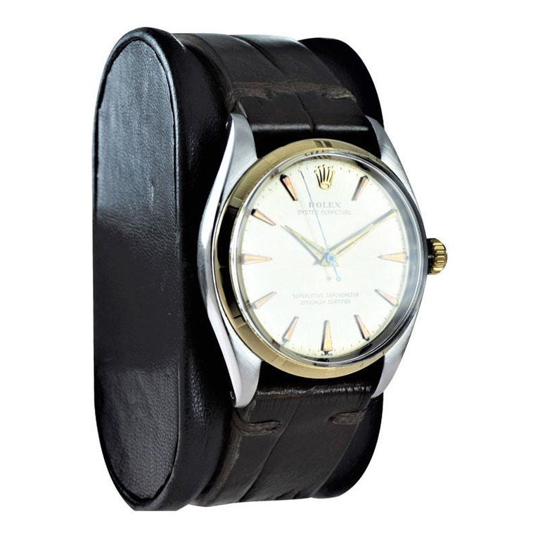 Modern Rolex Stainless Steel and Yellow Gold Oyster Perpetual Ref 1003 from 1961 For Sale