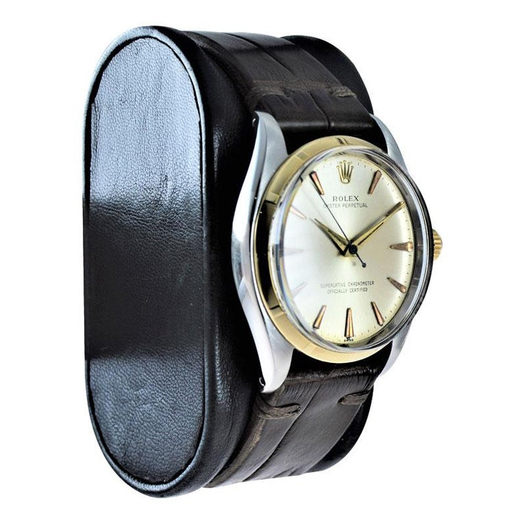 Women's or Men's Rolex Stainless Steel and Yellow Gold Oyster Perpetual Ref 1003 from 1961 For Sale