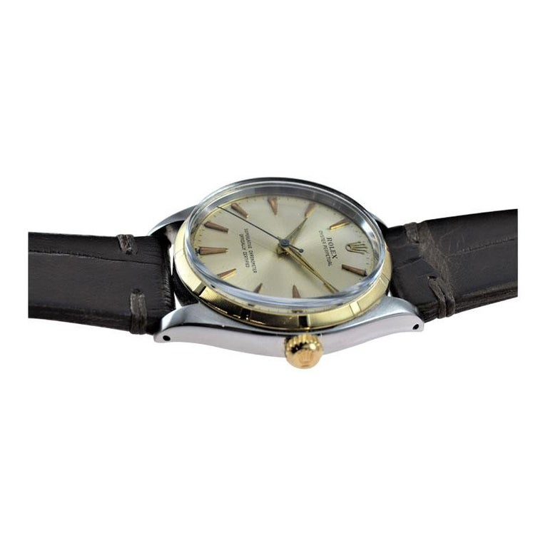 Rolex Stainless Steel and Yellow Gold Oyster Perpetual Ref 1003 from 1961 For Sale 1