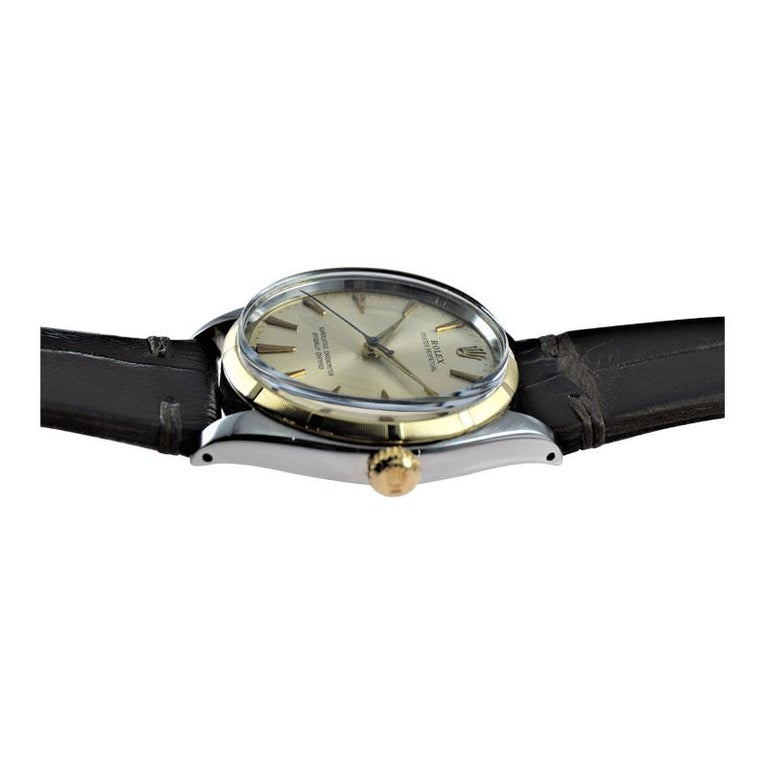Rolex Stainless Steel and Yellow Gold Oyster Perpetual Ref 1003 from 1961 For Sale 2