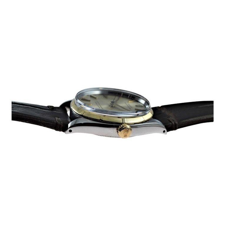 Rolex Stainless Steel and Yellow Gold Oyster Perpetual Ref 1003 from 1961 For Sale 3