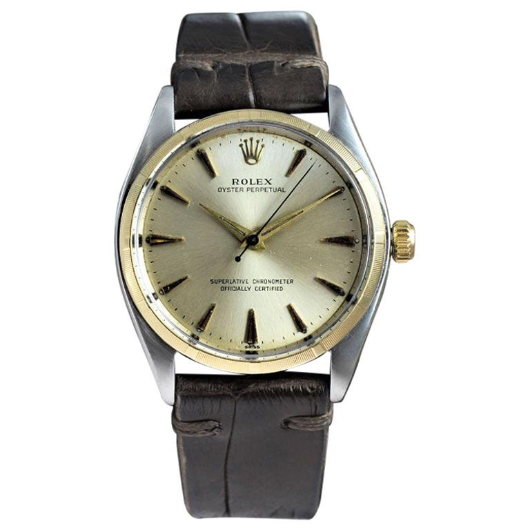 Rolex Stainless Steel and Yellow Gold Oyster Perpetual Ref 1003 from 1961 For Sale