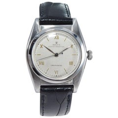 Rolex Stainless Steel Bubble Back Rare Roman Dial Perpetual Wind Watch