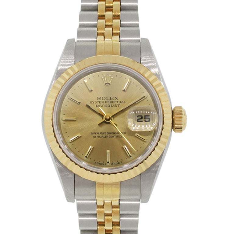 Rolex Stainless Steel Champagne Dial Datejust Automatic Wristwatch Ref 69173 For Sale