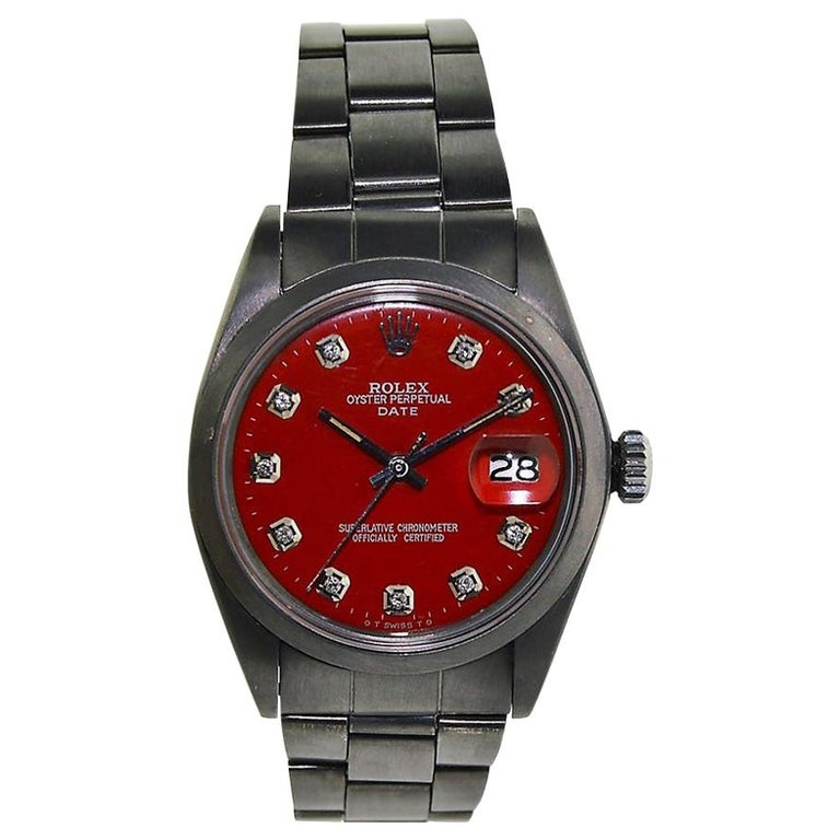 Rolex Stainless Steel Oyster Perpetual Date Charcoal Carbonized Red Custom Dial  For Sale