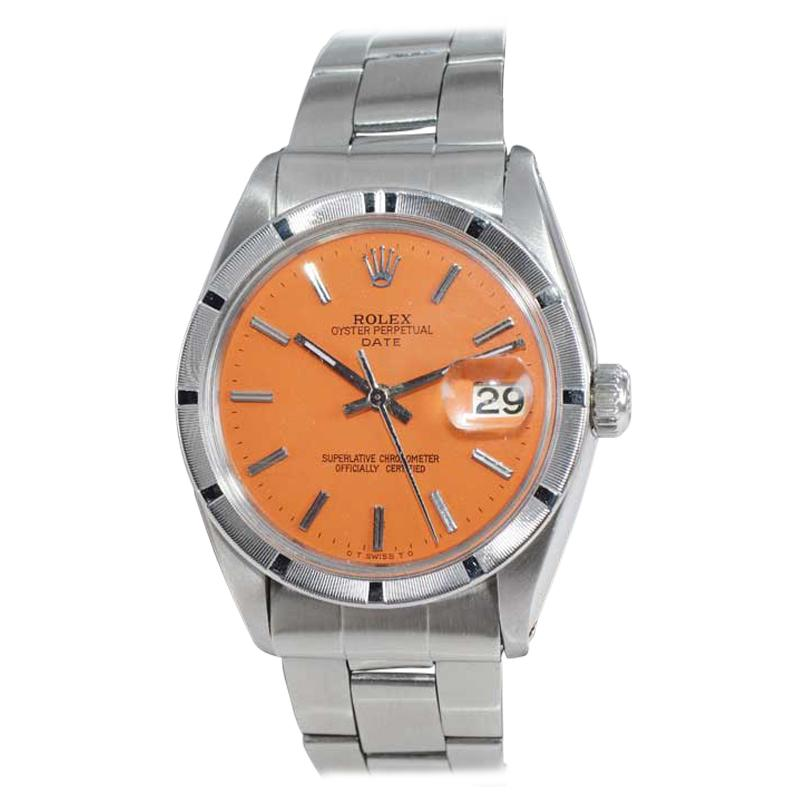 Rolex Stainless Steel Date Custom Finished Orange Dial, circa 1970's