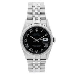 Rolex Stainless Steel Datejust Black dial Automatic Wristwatch Ref 16220