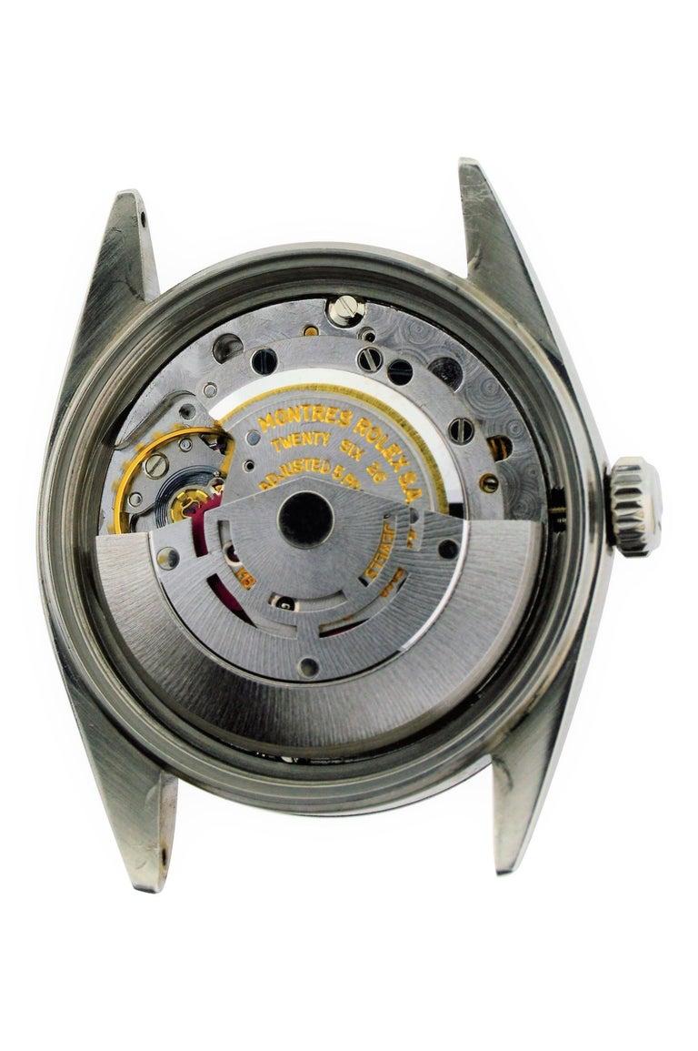 Rolex Stainless Steel Datejust Black Dial Jubilee Bracelet, Early 1970's For Sale 6