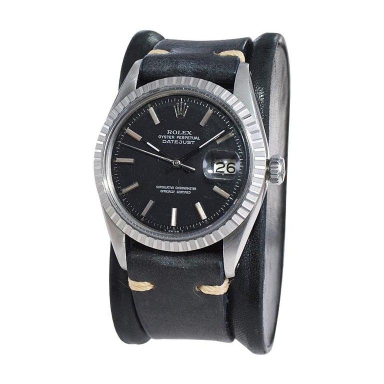 Modernist Rolex Stainless Steel Datejust Black Dial Jubilee Bracelet, Early 1970's For Sale