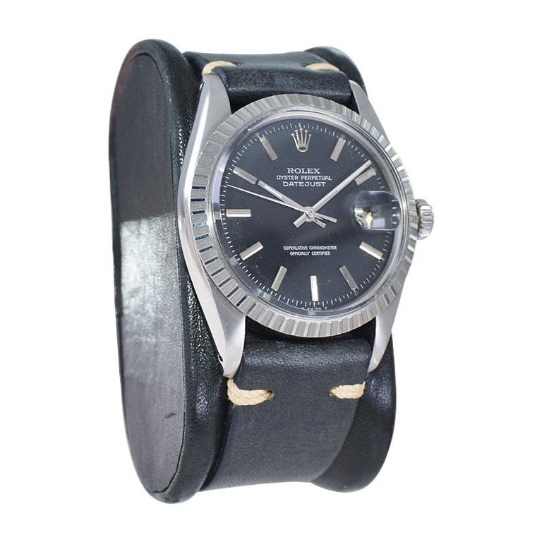 Rolex Stainless Steel Datejust Black Dial Jubilee Bracelet, Early 1970's In Excellent Condition For Sale In Long Beach, CA