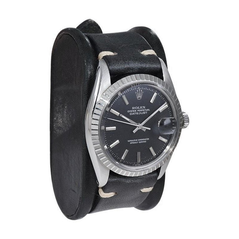 Women's or Men's Rolex Stainless Steel Datejust Black Dial Jubilee Bracelet, Early 1970's For Sale