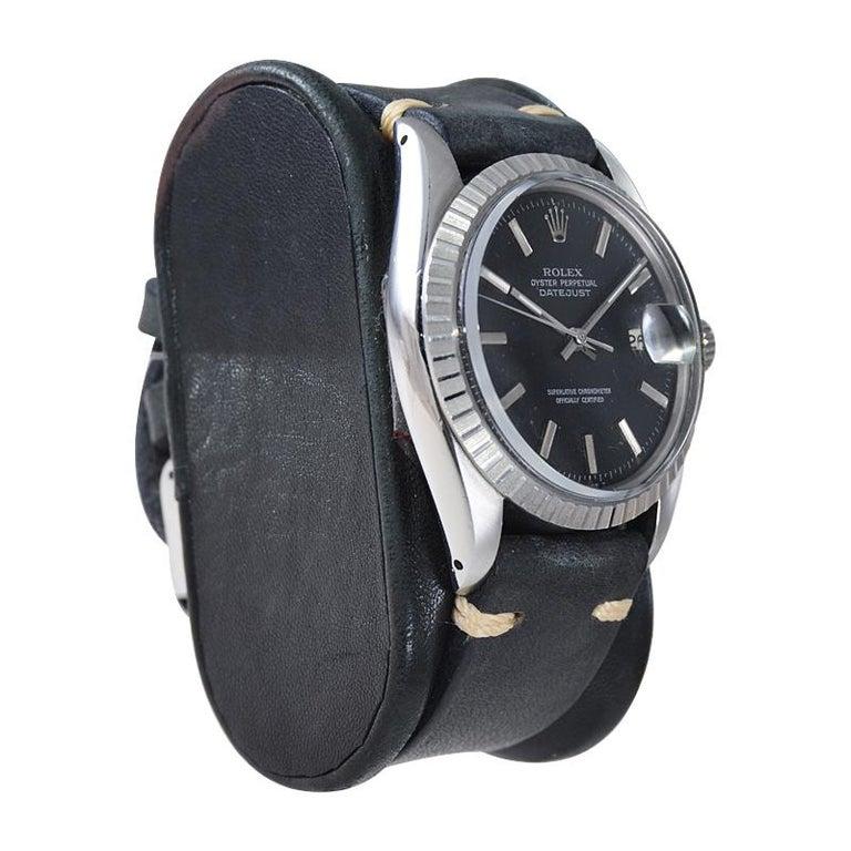 Rolex Stainless Steel Datejust Black Dial Jubilee Bracelet, Early 1970's For Sale 1