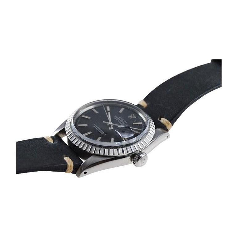 Rolex Stainless Steel Datejust Black Dial Jubilee Bracelet, Early 1970's For Sale 2