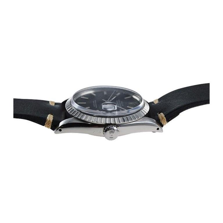 Rolex Stainless Steel Datejust Black Dial Jubilee Bracelet, Early 1970's For Sale 3